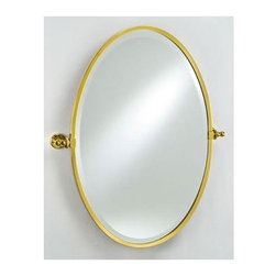 Afina - Radiance Gear Tilt Oval Mirror - Includes gear style tilt mounting brackets and trim. 1 in. beveled edge. Mirror projects 3 in. from wall. Warranty: One year. Made from solid brass. Polished brass color. Mirror: 18 in. W x 26 in. H. Mirror w brackets: 22 in. W x 26 in. H. Installation Instructions