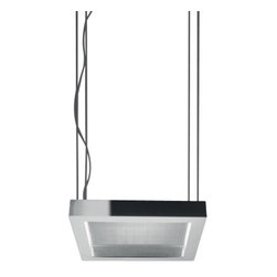 """Artemide - Artemide Altrove 600 Suspension Light - The Altrove 600 Suspension Lamp was designed by Carlotta de Bevilacqua for Artemide. This beautiful cable suspended luminaire features a clean, rectangular shape with a mirrored stainless stell perimeter structure. Transparent methacrylate front diffuser. Dimmable. UL LISTED.  Product Details:  The Altrove 600 Suspension Lamp was designed by Carlotta de Bevilacqua for Artemide. This beautiful cable suspended luminaire features a clean, rectangular shape with a mirrored stainless stell perimeter structure.  Transparent methacrylate front diffuser. Dimmable. UL LISTED.  Details:      Manufacturer:     Artemide      Designer:    Carlotta de Bevilacqua      Made in:    Italy      Dimensions:     Width: 23 5/8"""" (60 cm) X Length:  23 5/8"""" (60 cm)       Light bulb:     2 X  55W 2G11/T5 fluorescent      Material:     Aluminum, Methacrylate"""