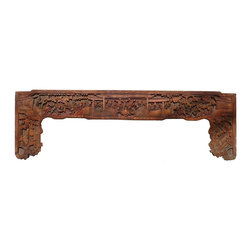 Golden Lotus - Old Chinese Ancient Scenery Carving Wall Decor Panel Frame - This is an old panel / carving wood art with precise ancient Chinese scenery carving. It can be as a wall accent decoration or reframed as mirror or others.