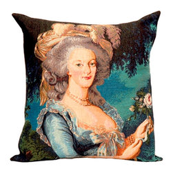 "Jules Pansu - French Tapestry Cotton Marie Antoinette Pillow - Includes a decorative pillow insert filled with 95% white goose feathers/5% white goose down in 210 thread count cotton twill. Features: -Collection: French Tapestry. -Color: Blue Multi. -Material: Cotton. -210 Thread count. -Insert filled with 95% white goose feathers/5% white goose down. -Dry clean only. -Made in the USA. Dimensions: -18"" H x 18"" W, 2 lbs."