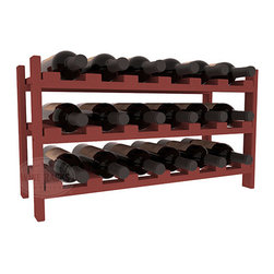 18 Bottle Stackable Wine Rack in Pine with Cherry Stain - Expansion to the next level! Stack these 18 bottle kits as high as the ceiling or place a single one on a counter top. Designed with emphasis on function and flexibility, these DIY wine racks are perfect for young collections and expert connoisseurs.