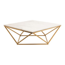 Kathy Kuo Home - Rosalie Hollywood Regency Gold Steel White Marble Coffee Table - Combining Global Bazaar with Hollywood Regency, this eclectic marble coffee table makes a stylish statement in your living room. The geometric, brushed gold base has an open, airy design that contrasts with the solid white square marble top. Picture the table filled with rare finds and favorite books.