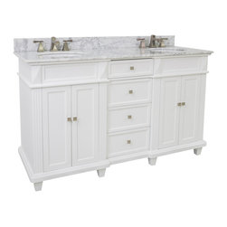 """Hardware Resources - Lyn Design VAN094D-60-T-MW - This 60"""" wide MDF vanity features a sleek white finish, clean lines and tapered feet to give a modern feel. Two large cabinets with a center bank of fully functional drawers provide ample storage. This vanity has a 2CM white marble top preassembled with an H8809WH (15"""" x 12"""") bowl, cut for 8"""" faucet spread, and corresponding 2CM x 4"""" tall backsplash."""