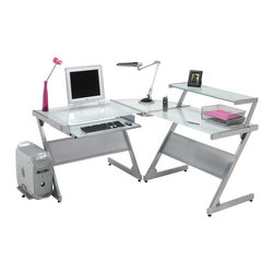 "Dainolite - Dainolite DCT-340-GL-SV Multi-Purpose ""L"" Shaped Work Station Frosted Glass - Dainolite DCT-340-GL-SV Multi-Purpose ""L"" Shaped Work Station Frosted Glass Silver Metal"
