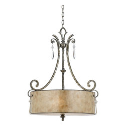 Quoizel - Quoizel KD2824MM Kendra Traditional Pendant Light - A true modern classic, this design is sleek and sinewy yet traditional enough for most homes. It features elongated, ice crystal drops accented with small floral clusters, and pearly mica shades that illuminate your home with natural elegance.