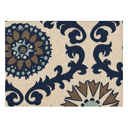 """Close to Custom Linens - 22"""" King Bedskirt Gathered Rosa Indigo Blue Taupe Beige - Rosa is a contemporary floral in blues and taupe on a neutral beige linen-textured background"""