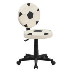 Flash Furniture - Flash Furniture Soccer Task Chair - BT-6177-SOC-GG - Bring your favorite sport to the desk with this Soccer Inspired Office chair that is perfect for all young soccer fans! The round seat and back resembles two soccer balls that are upholstered in vinyl material for easy cleaning. With an affordable price tag it is sure to please the young soccer fan in your home. [BT-6177-SOC-GG]