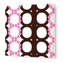 "Avalisa - Pattern - 65 Stretched Wall Art, Brown Pink, 12"" x 12"" - Dot's the way! If you want to turn a wall into a powerful design statement, choose this pattern in one of these unlikely yet lovely color combos."