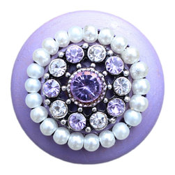 DaRosa Creations - Purple Wooden Drawer Knobs with Crystals and Pearls - Purple Wooden Drawer Knobs with Crystals and Pearls