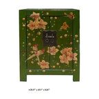 Chinese Green End Table w Flower Birds Graphic - This is a side table / nightstand with rustic vintage green lacquer finish. A colorful scenery of Asian flowers & birds scenery is drawn on the door, drawer and top. Bird and flower position is different for each table.