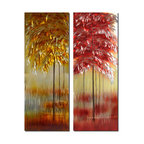 Pure Art - Blaze of Nature Tree Wall Art Set of 2 - A two-paneled wall art, this depiction of trees has a somewhat mirrored effect: One panel mirrors the other. Each features a line of trees that fade off into the distance, only the trunks visible beyond the first tree. Each panel is done in a brilliant different color theme: One in red and the other in shades of gold.Made with top grade aluminum material and handcrafted with the use of special colors, it is a very appealing piece that sticks out with its genuine glow. Easy to hang and clean.