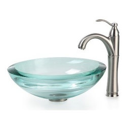 Kraus - Kraus Clear 34mm edge Glass Vessel Sink and Riviera Faucet Satin Nickel - *Add a touch of elegance to your bathroom with a glass sink combo from Kraus