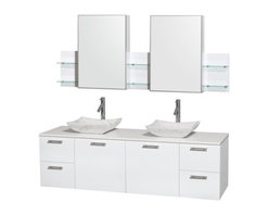 """Wyndham Collection(R) - Amare 72"""" Wall-Mounted Double Bathroom Vanity Set with Vessel Sinks by Wyndham C - The Wyndham Collection is an entirely unique and innovative bath line. Sure to inspire imitators, the original Wyndham Collection sets new standards for design and construction. The Amare wall-mounted vanity family delivers beautiful wood grain exteriors offset by modern brushed chrome door pulls. Each vanity provides a full complement of storage areas behind sturdy soft-close doors and drawers. This versatile vanity family is available with distinctive vessel sinks or sleek integrated counter and sinks to fulfill your design dreams. A wall-mounted vanity leaves space in your bathroom for you to relax. The simple clean lines of the Amare wall-mounted vanity family are no-fuss and all style. Amare Bathroom Vanities are available in multiple sizes and finishes. FeaturesConstructed of the highest grade MDF, engineered for durability to prevent warping and last a lifetime 8-stage preparation, painting and finishing processHighly water-resistant low V.O.C. sealed finishUnique and striking contemporary designModern Wall-Mount DesignMinimal assembly requiredDeep Doweled DrawersFully-extending soft-close drawer slides Concealed soft-close door hinges Counter options include Green Glass, White Man-Made Stone.Backsplash not availableAvailable with Porcelain, Granite, and Marble vessel sink(s) Square Sink Single-hole faucet mountFaucet(s) not includedMirror or Medicine Cabinet Set availableMetal exterior hardware with brushed chrome finish Two (2) functional doors Four (4) functional drawers Plenty of storage spacePlenty of counter space Includes drain assemblies and P-traps for easy assembly How to handle your counter Spec Sheet for Vanity Installation Guide for Vanity Spec Sheet for MirrorInstallation Guide for Mirror Spec Sheet for Medicine CabinetsInstallation Guide for Medicine Cabinets Spec Sheet for Amare Rotating Wall Cabinet with Mirror (WC-RYV202) Spec Sheet for"""