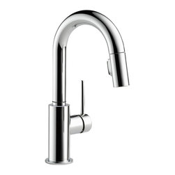 Delta Single Handle Pull-Down Bar/Prep Faucet - 9959-DST - Sleek, minimalistic design makes Trinsic the perfect complement to today's modern home.