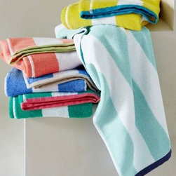 Cabana Stripe Towel - I love these wide-striped towels that come in cheery, kid-friendly colors.