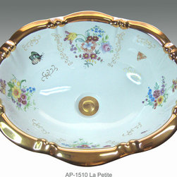 "Hand Painted Drop-in Sinks by Atlantis - ""LA PETITE"" Shown on AP-1510 white Lotus drop-in 19-1/2""x15-3/4"" border available on burnished gold or platinum and bright gold or platinum on any of our sinks."