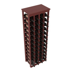 "48 Bottle Kitchen Wine Rack in Redwood with Cherry Stain + Satin Finish - Store 4 complete cases of wine in less than 20"" of wall space. Just over 4 feet tall, this narrow wine rack fits perfectly in hallways, closets and other ""catch-all"" spaces in your home or den. The solid wood top serves as a shelf or table top for added convenience and storage of nick-nacks."