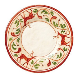 """Vietri Renna Reindeer Holiday Dinner Plate Italian Dinnerware - The Renna dinner plate is a festive piece for fall and the holidays. In Italian lore, the reindeer, or renna, is a thing of majesty and grace. Renna's rich, warm colors evoke nature, and the animal's graceful silhouette exudes elegance. Made of terra bianca and handpainted in Umbria. Dishwasher safe. This piece measures approximately 11.5""""D."""