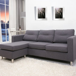 None - Detroit Dark Grey Convertible Sectional Sofa and Ottoman - Detroit sectional sofa and ottoman set features a sleek contemporary design that adds comfort and style to your home. Three interchangeable arrangements allow this set to be used as a one-piece sectional sofa or a two -piece sofa and ottoman set.