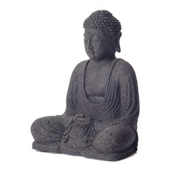 "Garden Buddha Sculpture - What is more zen than a garden space? I love this Buddha sculpture made of volcanic sand and concrete. I'd nestle it between two large plants for a nice little ""surprise"" moment."