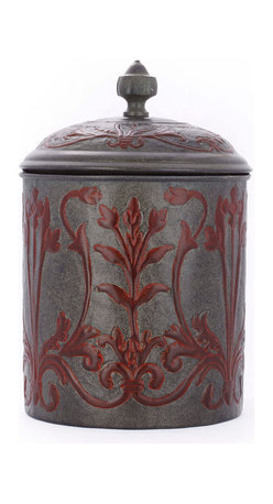 "Old Dutch International - ""Art Nouveau"" Cookie Jar w/Fresh Seal Cover, 4Qt. - Tuck your treats into this charming cookie jar, inspired by Art Nouveau. Handcrafted of iron and aluminum, with a tight-fitting Fresh Seal cover to keep your goodies tasty, it's a refined accent for your kitchen."