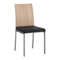 Chintaly Imports - Black Wood Panel Back Side Chair (Set of 2) - Wood panel back side chair, Durable PU for years of use, Brushed stainless steel chair legs, CA fire retardant foam