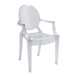 Kardiel Philippe Style Ghost Arm Chair, Transparent - The Signature Ghost Chair originally designed by Philippe Starck presents a unique mix of creativity and sturdiness. The chairs are durable, can be stacked and are great for both outdoor and indoor use. These features make them a terrific choice for nearly any kind of occasion and space. The Ghost Chair almost disappears into the background as if to faintly impose its distinguishing design element into the room. The Signature Ghost Chair has turned out to be an artistic representation of American furniture. Apart from their versatility, they also express the designs of a true artist. Their rounded seats and medallion backs show the illusion of a contemporary baroque style chair.