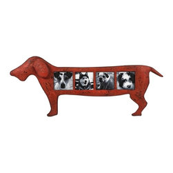 "Dachsund Champ Dog Wall Picture Frame - *The Champ dog wall frame features iron frame in an antiqued red finish in the shape of a dachshund and holds four 3.5"" x 3.5"" photos."