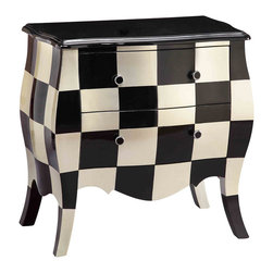 None - Obsidian 2-drawer Black and White Bombe Accent Chest - The classic shape of this fabulous 2-drawer bombe chest is accentuated with a distinctive checkerboard design. A traditional aproned front and bowed legs complete the look for a blend of classic and modern that will enhance any decorative motif.