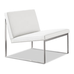 Bernhardt Design - Baron B2 Lounge Chair 6902 - Armless lounge chair with angled reclined seat, back and seat are solid upholstered cushions, brushed nickel sled chair base.  Designed by Fabon Baron and produced by Bernhardt Design. SKU 6902.