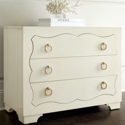 """Bernhardt - Bernhardt Davoli Chest - What makes this chest unique is the decorative shape to the drawers. Ring drawer pulls add to its appeal. Made of maple veneers with an alabaster finish. Three drawers. Adjustable glides. 38""""W x 18""""D x 30""""T. Imported. Boxed weight, approximately 1..."""