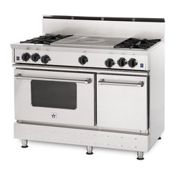 "48"" BlueStar RNB French Top Gas Range - Stainless Steel 48"" RNB French Top Gas Range has 4 Top Burners with French Top"