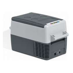 Frontgate - Dometic 33-qt. Portable Fridge/Freezer - Available in 3 sizes, 11 qt., 33 qt., and 55 qt.. Quick chill function runs the compressor at maximum performance until the desired temperature. Memory feature maintains presets if the system is turned off. Battery monitor with low-voltage shut-off protects against dead battery. 12/24 volts DC, 110 volts AC. Composed of a high impact polypropylene cabinet, this lightweight Portable Fridge/Freezer can refrigerate or freeze from 0 degreesF to 50 degreesF (-17 degrees C), making it the perfect accessory for all of your special event, tailgating and traveling needs. . . . .  . Convenient, removable carrying handles . Interior light helps quickly find contents in the dark. Includes coated wire basket. Easy-to-read LED display. 11 quart model holds 15 twelve oz. cans; 33 quart model holds 41 twelve oz. cans; 52 quartmodel holds 68 twelve oz. cans.