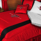 Sports Coverage - Texas Tech NCAA Bedding - Sidelines Comforter and Sheet Set Combo - Queen - This is a great Texas Tech NCAA Bedding Comforter and Sheet set combination! Buy this Microfiber Sheet set with the Comforter and save off our already discounted prices. Show your team spirit with this great looking officially licensed Comforter which comes in new design with sidelines. This comforter is made from 100% Polyester Jersey Mesh - just like what the players wear. The fill is 100% Polyester batting for warmth and comfort. Authentic team colors and logo screen printed in the center.   Microfiber Sheet Hem sheet sets have an ultrafine peach weave that is softer and more comfortable than cotton.  Its brushed silk-like embrace provides good insulation and warmth, yet is breathable.  The 100% polyester microfiber is wrinkle-resistant, washes beautifully, and dries quickly with never any shrinkage. The pillowcase has a white on white print beneath the officially licensed team name and logo printed in vibrant team colors, complimenting the NEW printed hems. The Teams are scoring high points with team-color logos printed on both sides of the entire width of the extra deep 4 1/2 hem of the flat sheet.  Includes:  -  Flat Sheet - Twin 66 x 96, Full 81 x 96, Queen 90 x 102.,    - Fitted Sheet - Twin 39 x 75, Full 54 x 75, Queen 60 X 80,    -  Pillow case Standard - 21 x 30,    - Comforter - Twin 66 x 86, Full/Queen 86 x 86,