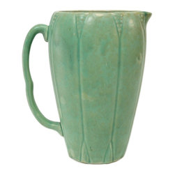 Illegible mark on base - Consigned Green Art Deco Lobed Flower Jug, Vintage English, 1930s - Elegant Art Deco flower jug in earthenware, green glazed lobed design; vintage English, 1930s.
