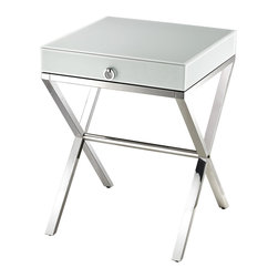 Lazy Susan - White Glass Side Table - Sleek And Modern Side Table In Super White Glass With Stainless Steel Frame And A Sturdy Drawer With Chrome Handle.