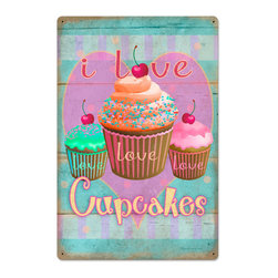 Past Time Signs - Cupcake Love Vintage Metal Sign - This vintage metal sign is hand made with pride in the USA using heavy gauge American steel. The high-resolution graphics are sublimated and powdercoated for a long-lasting durable finish. Then, it's worked over by hand to give it that vintage look and feel. It's perfect for your %customfield:genre% Man Cave, Game Room, Office, or anywhere you want to show love for your favorite things.