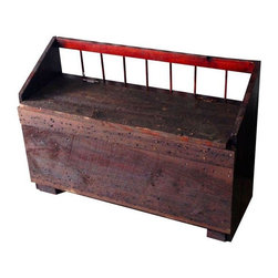 Used Vintage Wooden Boot Box - Vintage wood boot box perfect for storage and seating. Handmade with a rustic deep red stain. This versatile piece would be perfect for a mud-room, used for dog or children's toy storage, or pulled up next to a chair in the family room as a side table.