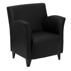 Flash Furniture - HERCULES Roman Series Black Leather Reception Chair - The Roman Chair offers dignified seating at a reasonable price. The flaired arms and high legs will make it a staple in your waiting room or office space.