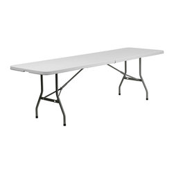 Flash Furniture - Flash Furniture Plastic Bi Folding Table in White - Flash Furniture - Folding Tables - RB3096FHGG - Commercial grade folding table that is designed to withstand the test of time! Flash Furniture's 30''W x 96''L Folding Table features a durable stain resistant blow molded top and sturdy frame.