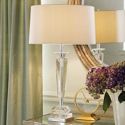 Frontgate - Adams Crystal Lamp - Polished chrome accents add more shine. Cord-concealing central pole. Bulb one three-way, 150 watt (not included). 6' cord. Wipe clean using a soft cloth. Our Adams Crystal Lamp clearly is an elegant lighting solution that is both modern and classic. The clean lines of the solid crystal base are complemented by the tailored silk drum shade in oyster gray.  .  .  .  .  . 120V . UL listed .