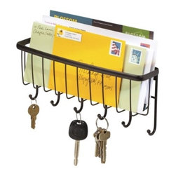 InterDesign Axis Wallmount Mail & Key Rack, Bronze - If you don't have room for a whole hall tree, consider a smaller option like this mail and key rack for storing your bills and car keys.