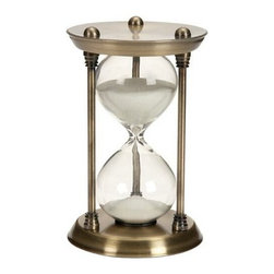 """BZBZ58155 - 15 Minute Nautical Ship Sand Timer Metal Hour Glass Steel - 15 minute nautical ship sand timer metal hour glass steel. Maritime ship brass sand timer standing on round base. Hour glass steel cycle takes 15 minute to complete. Dimension: 7""""H x 4""""W."""