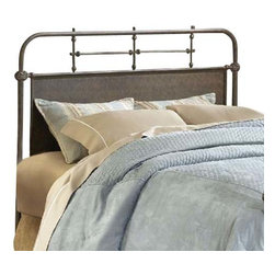 Hillsdale Furniture - Hillsdale Kensington Metal Headboard with Rails in Old Rust - King - The Kensington bed has a traditional design with a hint of turn of the century French style. The classic silhouette is enhanced by the solid center panels which are graced by detailed castings. Available in either old rust or textured white finish, the Kensington is a wonderful addition to any bedroom.