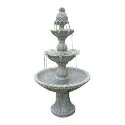 "Serenity Health & Home Decor - Welcome 3-Tier Garden Fountain - Welcome 3-Tier Fountain: 59""H x 32"" x 32""; Weight: 60 lbs."