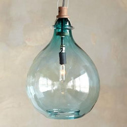 Turquoise Glass Pendant Light - This fixture combines my love of demijohns and pendant lighting into one stunning piece.