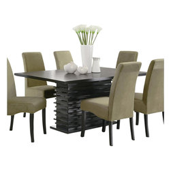 Coaster - Coaster Stanton Contemporary Dining Table in Black Finish - Coaster - Dining Tables - 102061 - The Stanton collection will give your contemporary casual dining room a bold update. With its unique wave design and different chair options you can mix and match to create the perfect look for your home. Made from ash veneers and finished in a rich black the Stanton collection will be a fabulous addition to your dining room.
