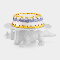 Sauria Cake Stand, Triceratops - While a birthday cake is the natural choice for topping this triceratops-shaped cake stand, it would also make just about anything, from muffins to mini-pizzas, more special.