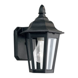 Sea Gull Lighting - Sea Gull Lighting Brentwood Traditional Outdoor Wall Sconce X-21-2288 - This Sea Gull Lighting Brentwood Traditional Outdoor Wall Sconce is an elegant piece with a timeless appeal. It has a cast aluminum frame in a beautiful, black powdercoat finish and is complemented by panels of clear glass. It's a visually pleasing light fixture with a stately appearance, and will effortlessly bring elegance and beauty to most any outdoor space.
