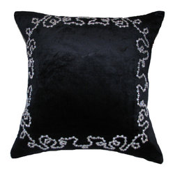 None - Hand Beaded Down Filled Black Velvet Pillow - This exquisite pillow is hand beaded and jeweled in an elegant curved pattern border atop crafted velvet with silk. The fill is a comfortable down for great lightness and softness.